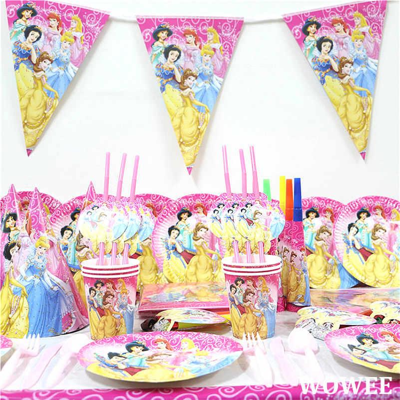 Fontes Do Partido da princesa tema Pratos Descartáveis Copos bandeira Toalhas de Mesa Guardanapos De Aniversário Decorações favores do chuveiro de bebê menina
