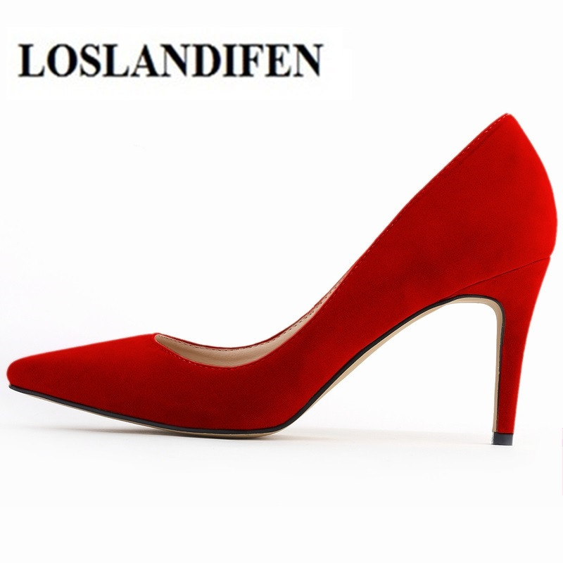 LOSLANDIFEN Classic Sexy Pointed Toe mid 8cm High Heels Women Pumps Shoes Faux Suede Spring Brand Wedding Pumps Big Size Escarpi толстовка для девочек luhta 434026325lv цвет розовый р 130 100