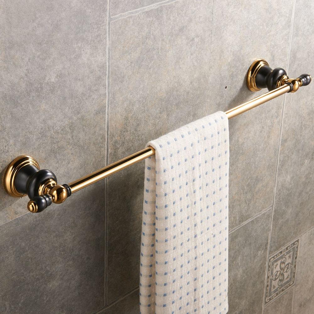 A1 European copper black gold bathroom hardware pendant towel hanging single pole towel bar brass frame wx6211448