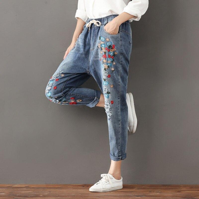 3cdfd93d1b ... Alta Bordado Blue Harem Para Q94 Mezclilla Mamá Cintura De Jeans Casual  Señoras Floral Boyfriend Pantalones ...