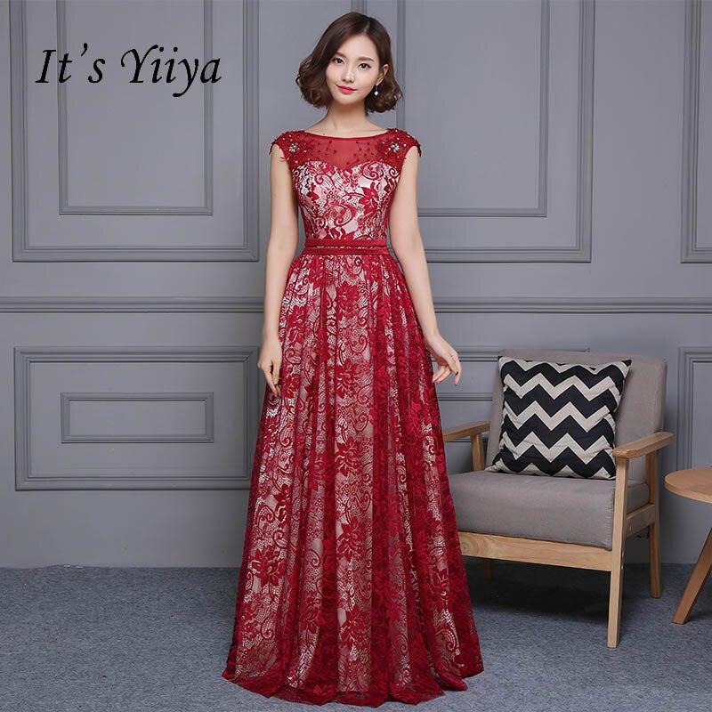 It's YiiYa Sleeveless Embroidery O-neck Elegant Tulle Flower Zipper Luxury Party Formal   Dress   Floor Length   Evening     Dress   LX122