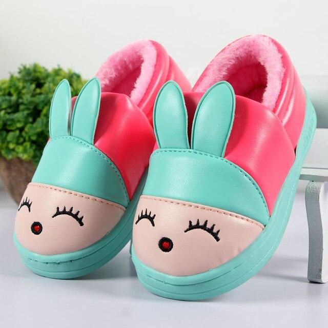 Мультфильм теплый хлопок обувь детские ботинки снега зимой кожа pu водонепроницаемый бытовые обувь мальчиков и девочек lippers CY1662
