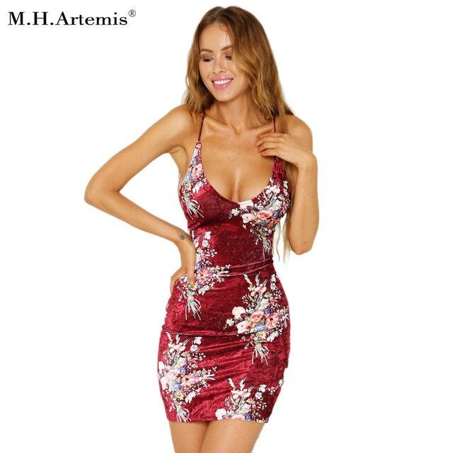 94958dd2187 M. H. Artemis Velours Chic Sangle Robe Imprimé floral Filles Mini Robe  V-cou Mince courte