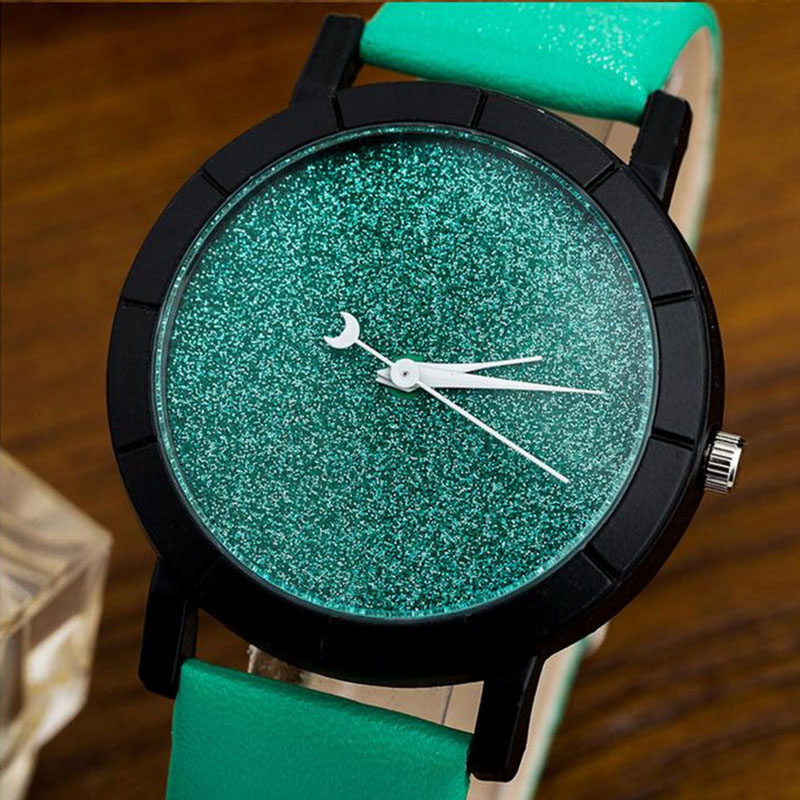 Simple Girl Wrist Watches Fashion No Scale Ladies Quartz Watch Shiny Starry Sky Clock Leather Strap Lover Wristwatch LL@17