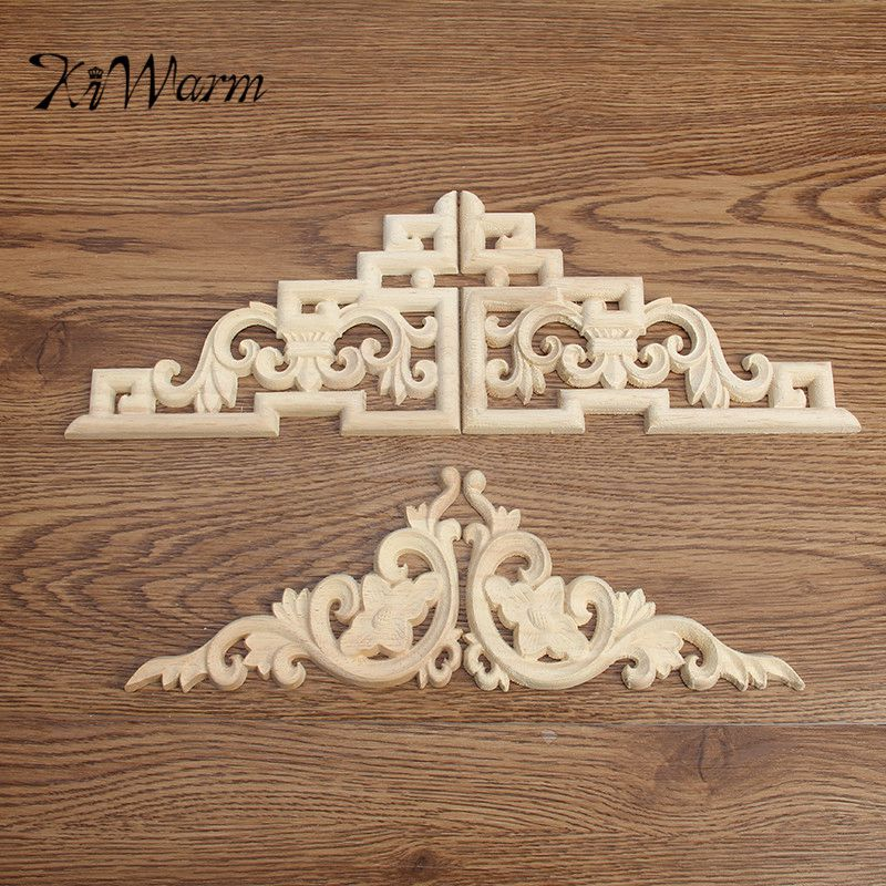 Kiwarm 2pcs Set Wood Carved Decal Corner Onlay Applique