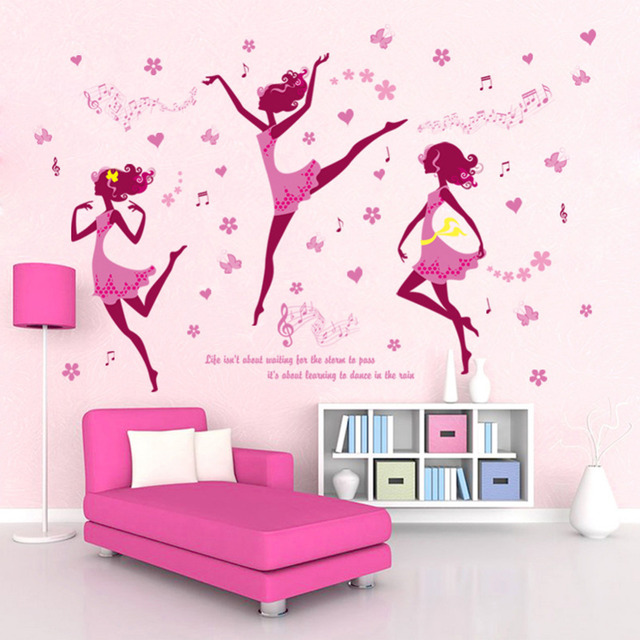 Hot Type 1pcs Pink Color Creative Dancing S Wall Stickers Home Decoration Living Room Art Drop Shipping