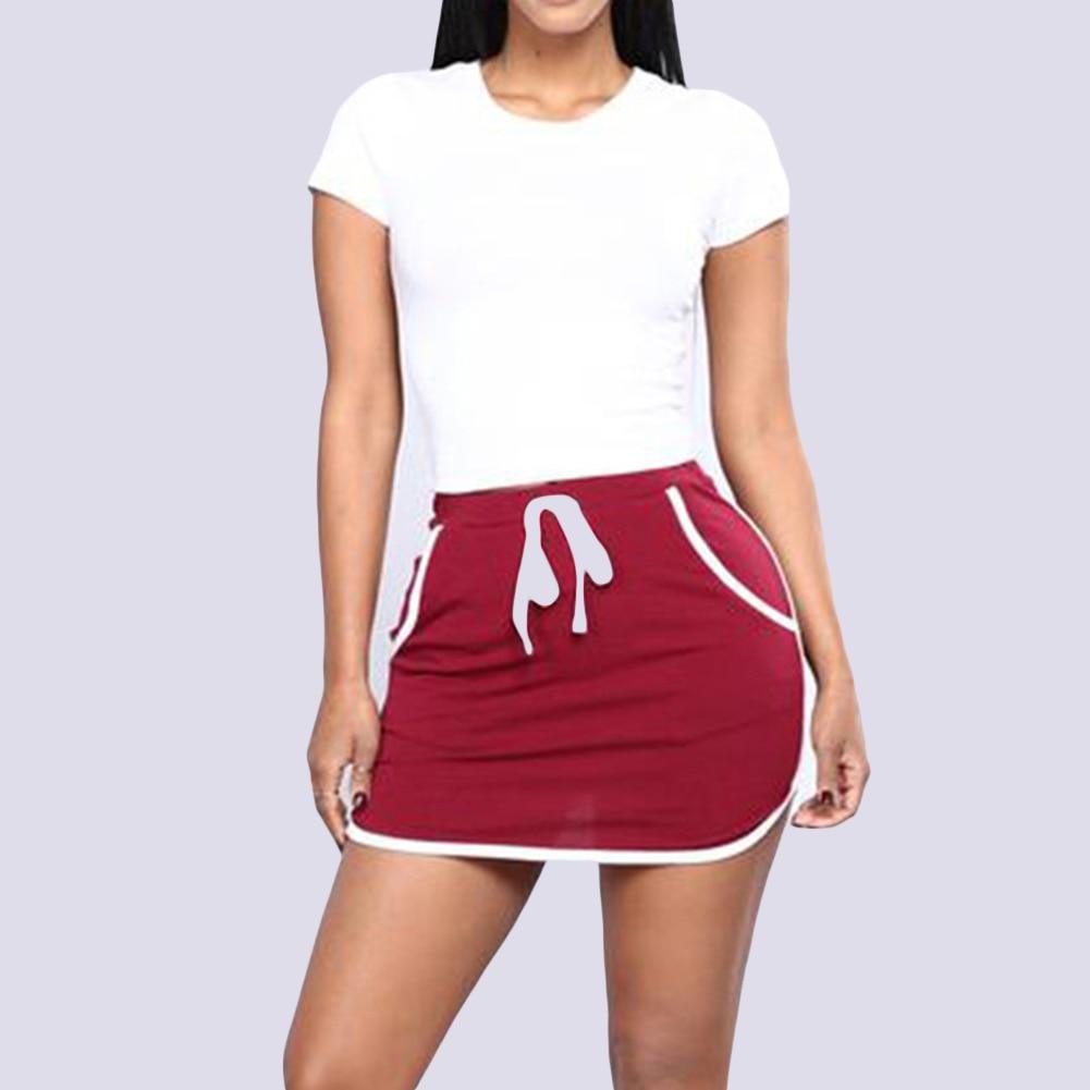 Casual Women Bodycon Elastic Drawstring Pocket Slim Summer Mini Pencil Skirt