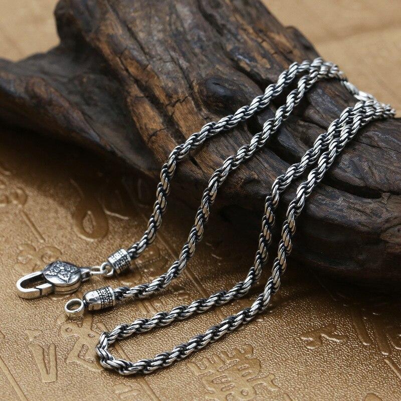 Gros 925 bijoux en argent Sterling de mode hommes personnalité Thai argent rétro collier chanvre clavicule chaîne nue chaîne