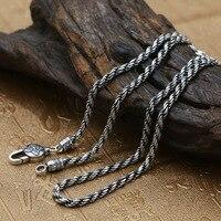 Wholesale 925 Sterling Silver Fashion Jewelry Men's Personality Thai Silver Retro Necklace Hemp Clavicle Chain Bare Chain