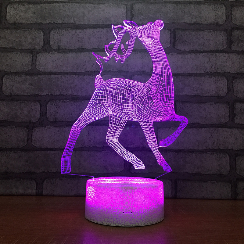 Cute Deer Shape 3D LED Table Lamp Baby Touch Colorful 7 Color Change Acrylic Night Light Home Bedroom Decor Kids Christmas Gifts in LED Night Lights from Lights Lighting