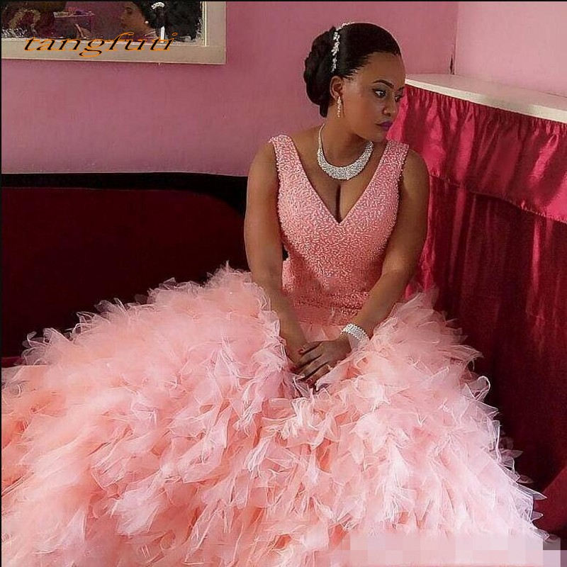 Pink Mermiad   Evening     Dresses   Party for Graduation Pearls Beading Long Ruffles Formal   Evening   Prom Gowns vestido de formatura