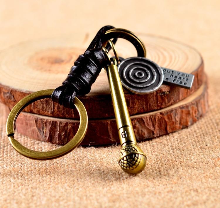 24 Pcs/Lot microphone mike keychain chaveiros key chain llaveros key holder porte clef Leather key ring Bulk Wholesale