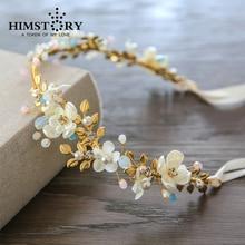 Newest Gold Plated Flower Wedding Hair Tiaras ,High-end Handmade  Beaded Bridal Headband Accessory