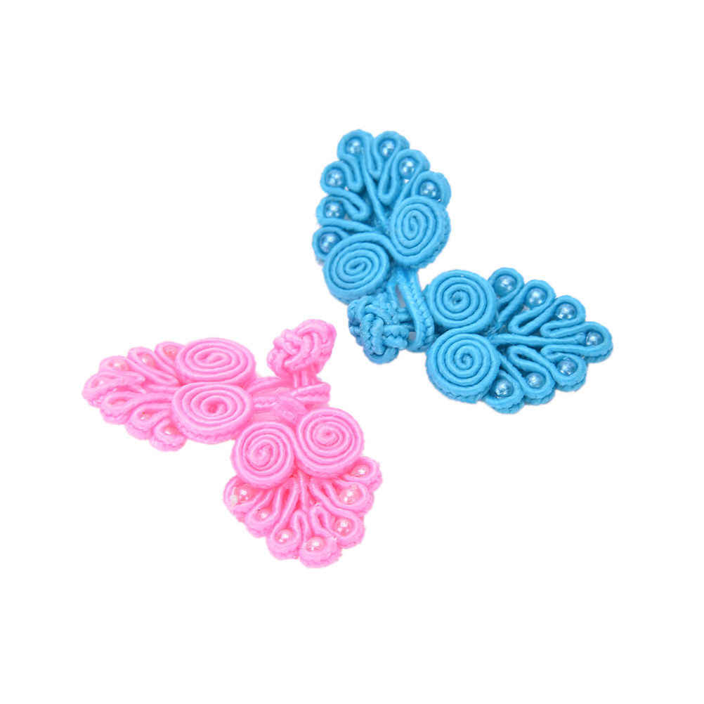 Chinese Handmade Frog Closures Swirl With Beads Chinese Knot Button High Quality Fancy Buttons 4pcs/lot  Many Colors