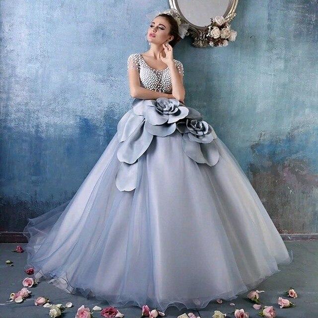 bd0a1c983dc4 Luxury Chic Long Evening Dress Short Sleeves Pearls Big Flower Fashion Evening  Dress Ball Gown Prom Dress Vestido Robe De Soiree