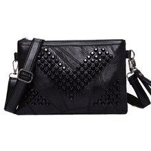 Diamond Genuine Leather Women Messenger Bag Zipper Sheepskin Small Crossbody Bag Vintage Skull Clutch Bag Ladies Purse Black
