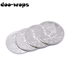Jumbo Half Dollar Shells 3 + 1 Set(Dia 5.8cm) One Coin to Four Magic Tricks Magician Close Up Props Gimmick Accessories Comedy