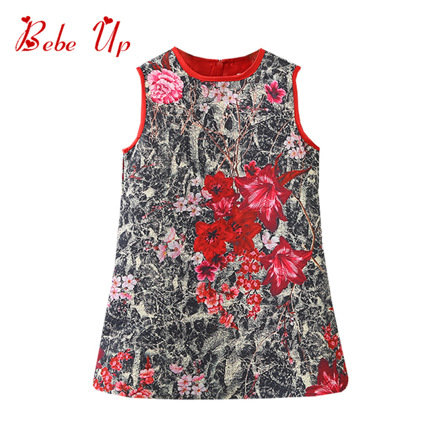 Toddler Girl Dresses Floral Print Kids Dresses For Girls Sleeveless Spring 2018 Teenage Girls Clothing Children Party Dress