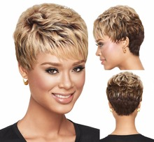 Heat Resistant synthetic short Wigs pixie cut hairstyle straight ombre blonde dark brown hair wigs for black Women african wigs