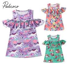 Toddler Infant Girls Unicorn Dress Off Shoulder Summer Party Sundress Ruffled Outfit Dresses