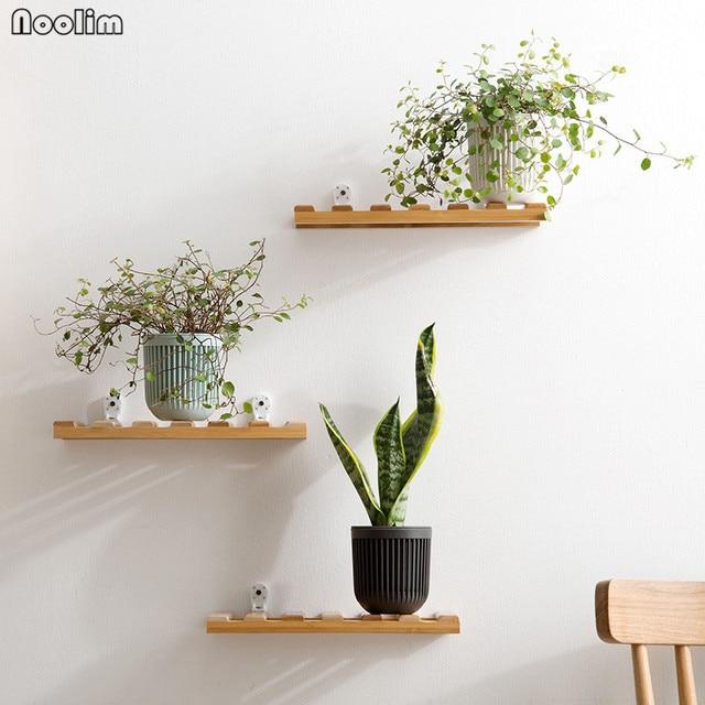 NOOLIM Bamboo Shelf Decorative Wall Shelf Wall Mounted Flower Rack ...