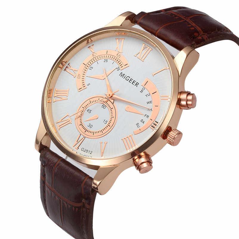 แบรนด์ชายนาฬิกา Retro ออกแบบหนัง Band Analog Alloy นาฬิกาข้อมือควอตซ์ชายนาฬิกาสปอร์ต Relogio Masculino Perfect ของขวัญ