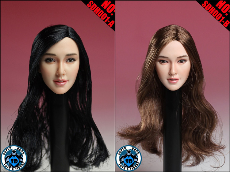 SUPER DUCK 1/6 SDH001 Asian Female Head Carving A / B 2 Colors Fit 12 Woman Action Figure Doll top habbies super duck carving 1 6 sdh001 a b asian girl head sculpt black brown hair for female phichen jiaodoll body figure