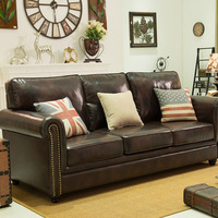 Leather sofa American style living room apartment model room sofa European furniture corner L shaped combination leather sofa