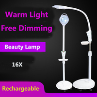Floor Magnifying Lamp, Pro Salon Facial Magnifying Lamp, Led Vanity Reading Rolling Stand Light Magnifier Light Beauty Tool