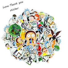 100Pcs lot American Drama Rick and Morty Funny Sticker Decal For Car Laptop Bicycle Motorcycle Notebook