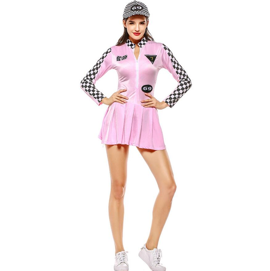 Red Pink Cool Sexy Lattice Racer Costume Racing Driver School Sports Women Clothing Set