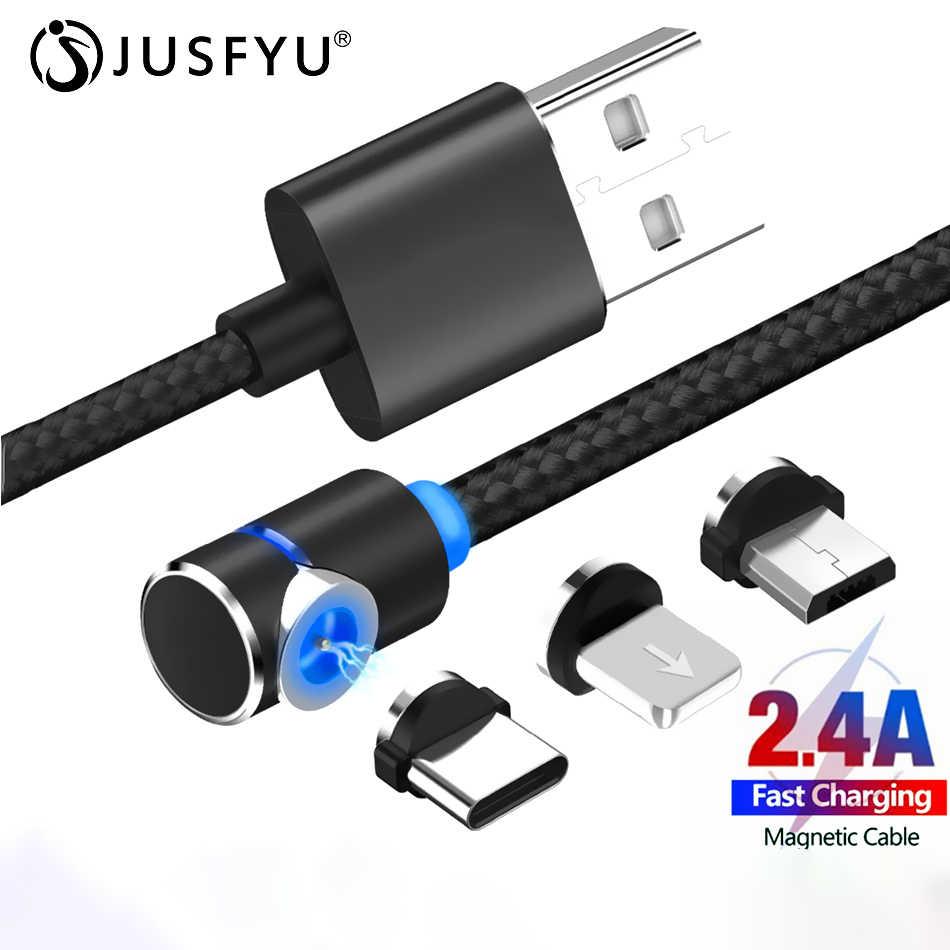L-ライン磁気充電ケーブル 90 度の led ケーブル 7 8 Xs 2.4A 高速充電 & マイクロ USB ケーブル & USB タイプ C USB C ケーブル