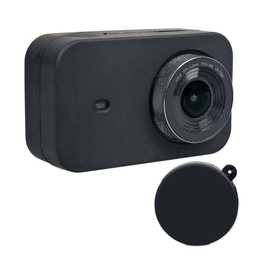 Protective Case for Xiaomi Mijia Small Camera Silicone Protective Case with Lens Cover Color : Black Black