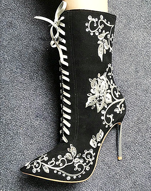 Unique Design Black Suede Metal Thin High Heel Short Boots Fancy Women Embroidered Flower Stick Crystal Ankle Boots LaceUp Shoes
