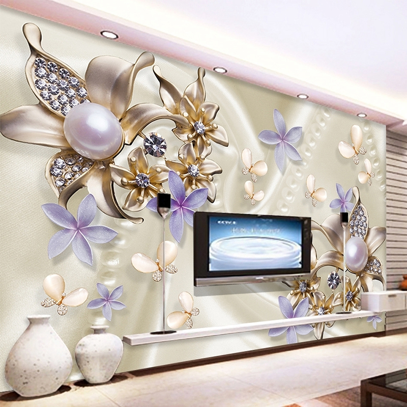 3D Stereo Relief Pearl Diamond Butterfly Flower Mural Wallpaper Living Room TV Sofa Background Wall Paper Modern Romantic Decor