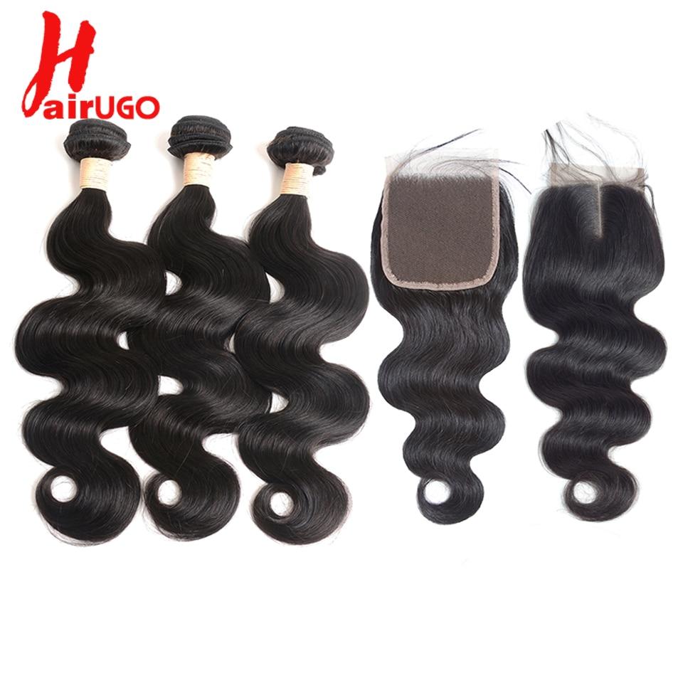 HairUGo Brazilian Body Wave Bundles With Closure Human Hair Bundles With Closure Brazilian Remy Hair Weave Bundles With Closure
