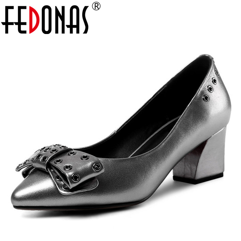 FEDONAS Top Quality Women Bowtie Pumps Genuine Leather Ladies Shoes Woman Sexy High Heels Party Wedding Shoes Pointed Toe Pumps hot sale pointed toe buckle charm fashion wedding shoes genuine leather sexy red pumps women pumps high quality high heels shoes
