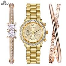 LIANDU Watch Women Fashion Gold  Watch & Bracelet Jewelry Set Dress Clock Ladies Casual Quartz Wristwatch все цены