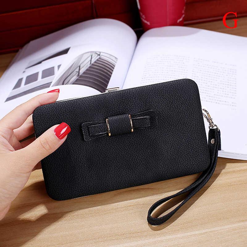 財布弓の財布女性の有名なブランドのカードホルダー携帯電話ポケット pu レザー女性マネーバッグクラッチ女性財布