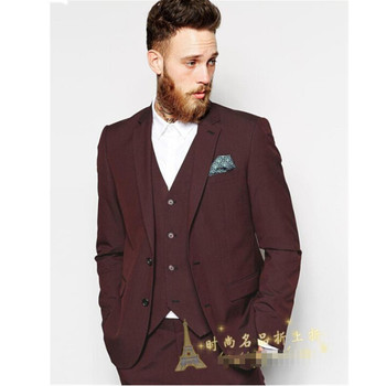 The new men's suits British gentleman style three-piece suit coat wedding wear business affairs conference (jacket+pants+vest)