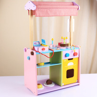 Baby's Simulation store,Children's Wooden Kitchen Furniture toy Set two in one Imitation cooking toy