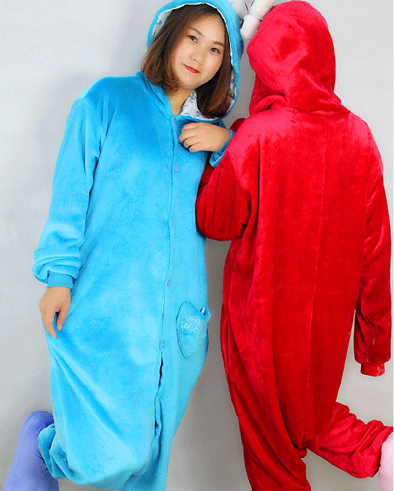 Sesame Street cartoon animal Home Furnishing flange Siamese pajamas for men and women in autumn and winter long coral velvet lov