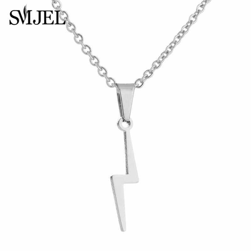 SMJEL stal nierdzewna grzmot błyskawica naszyjniki dla kobiet Flash strzałka Harry kolczyki na prezenty dla dziewczyny Vintage Jewelry Set