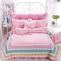 100% Cotton Pink Blue Bed sheet set Korea style Princess bedding set Full Queen King size Duvet cover Bed skirt Quilt cover