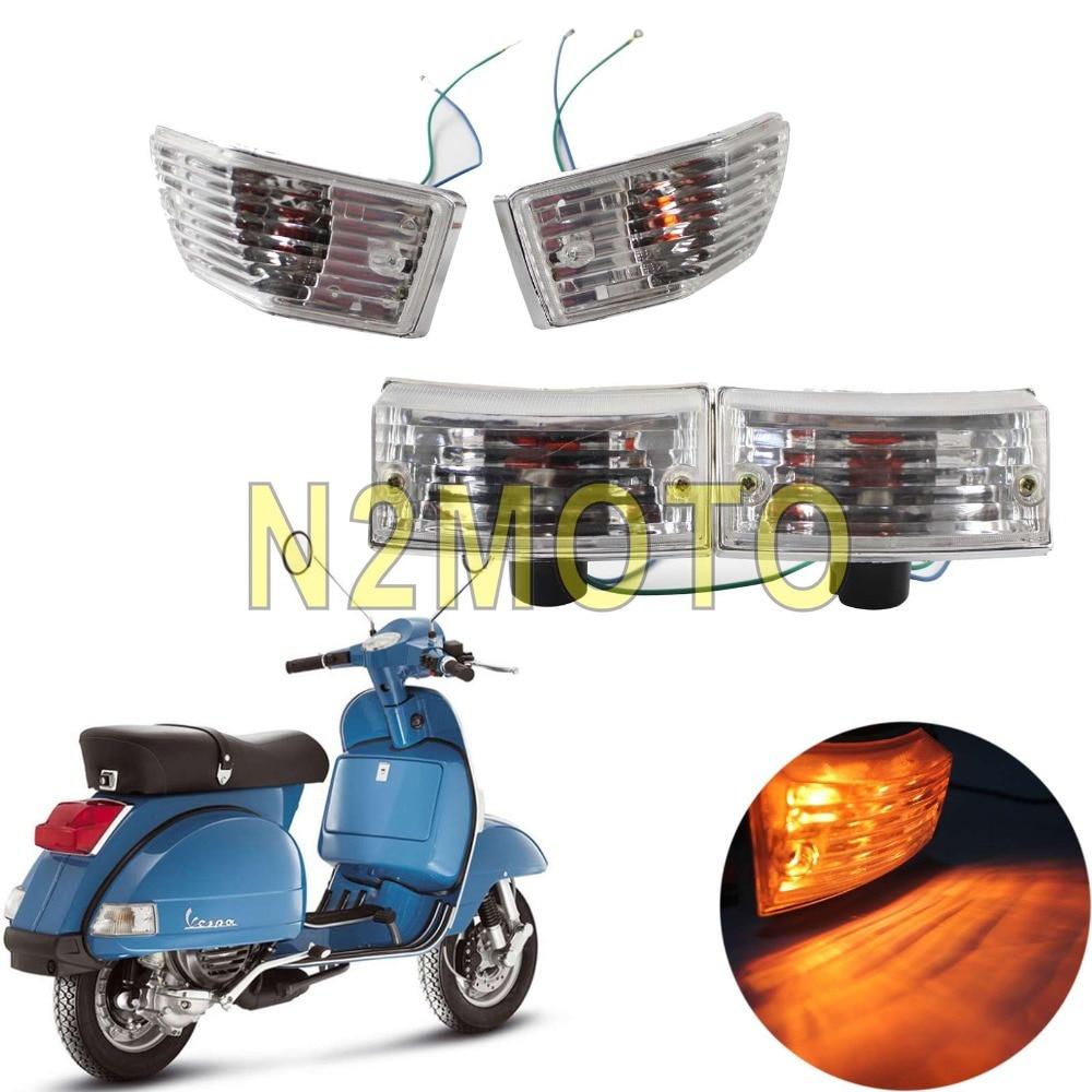 Для Vespa P PX VSX VNX, прозрачная красная Янтарная лампа для указателей поворота спереди и сзади, мигалка, мигалка, 4 шт.