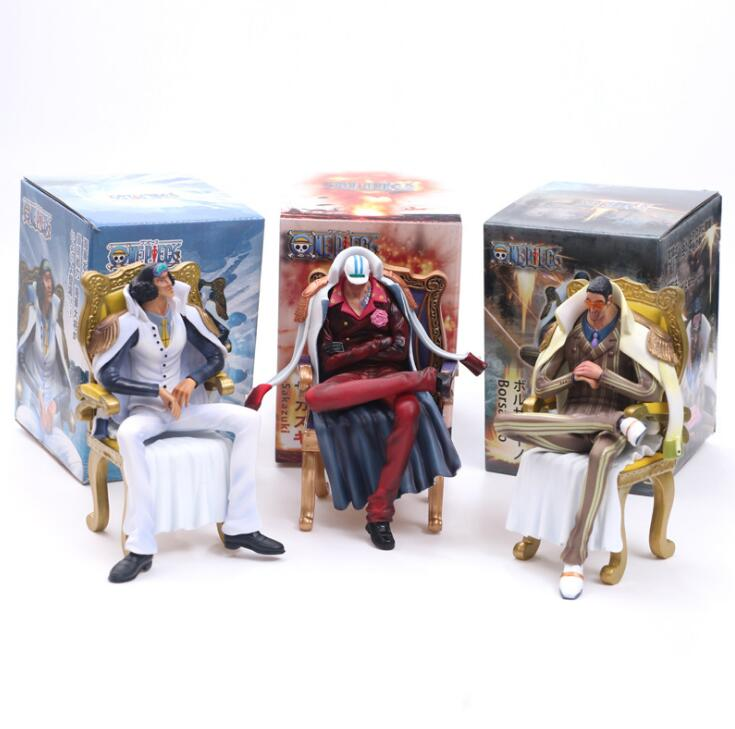 16cm Anime ONE PIECE Navy headquarters senior general Kuzan Borsalino Sakazuki Sitting Version Figure Model Toys