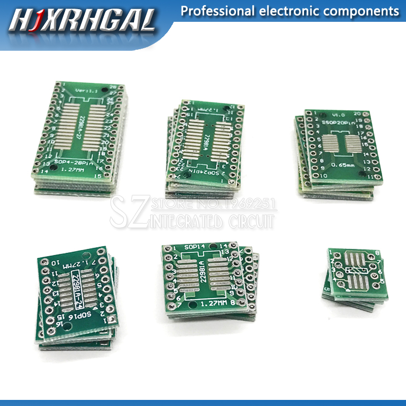 30PCS PCB Board Kit SMD Turn To DIP Adapter Converter Plate FQFP SOP8 SOP14 SOP16 SOP20 SOP28 QFP SOP 8 14 16 20 28 Hjxrhgal