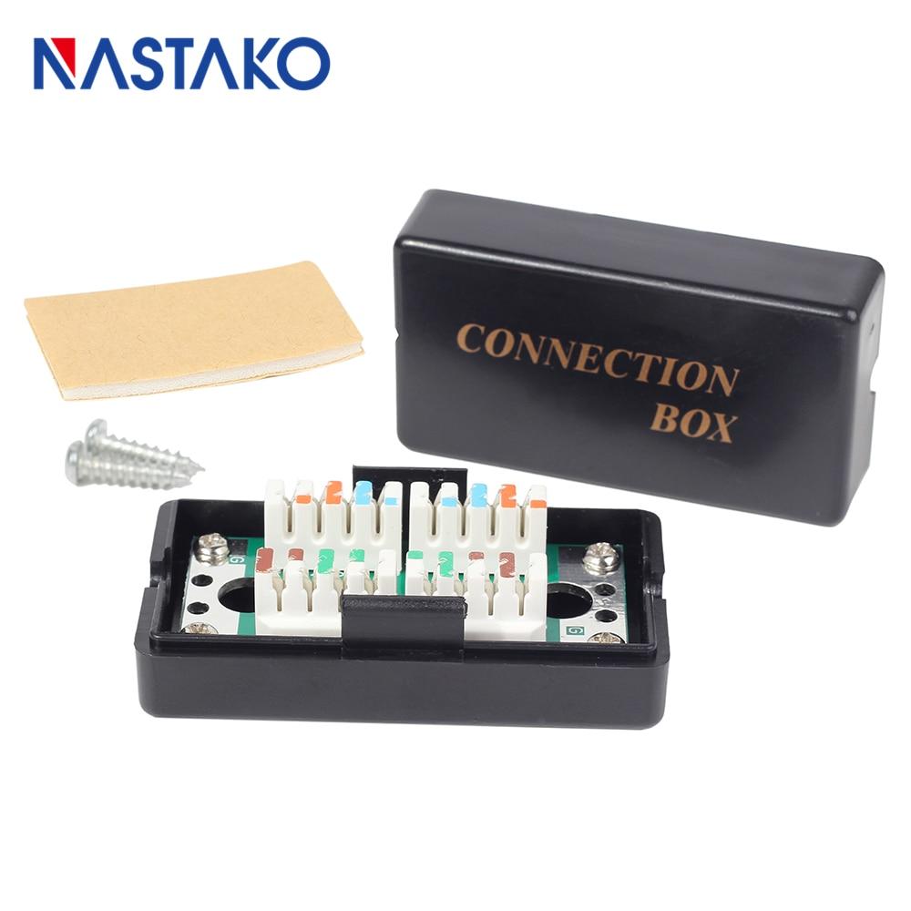 NASTAKO Unshieled RJ45 CAT5e Junction Box / LSA To LSA Connection Box / RJ45 Extention Box Plastic Black Punch Down Type