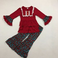 American European Style Fall Girl Clothes Hot Red Top Polka Dot Ruffle Pants Children Boutique Clothing