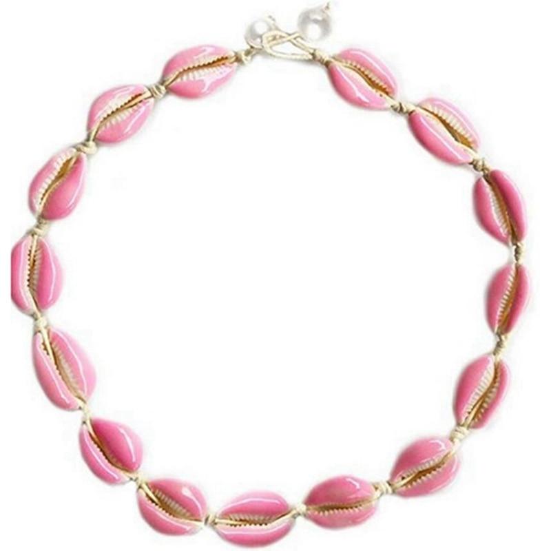 Bohemia Boho Sea Shell Choker Necklace Women Pink Shells Jewellery Beach Chocker Simple Neckless For Girls